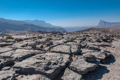 Vallei naast Jebel-Veinzerijen, Oman royalty-vrije stock foto