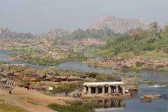 Vallei van Tungabhadra rivier, India, Hampi royalty-vrije stock foto