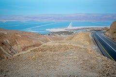 Vallei van Zohar, en Dode Overzeese zoute verdampingsvijvers Stock Fotografie