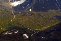 Valleien en rivieren in Jotunheimen Royalty-vrije Stock Fotografie