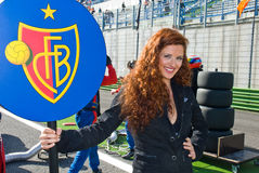 VALLELUNGA CIRCUIT, ROME, ITALY - NOVEMBER 2 2008. Grid girl Royalty Free Stock Photos