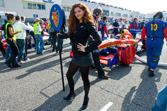 VALLELUNGA CIRCUIT, ROME, ITALY - NOVEMBER 2 2008. Grid girl Royalty Free Stock Photo