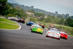 Vallelunga, Itália 24 de setembro de 2017 Hur de Porsche e de Lamborghini Imagens de Stock
