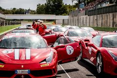 Vallelunga, Italia 24 de septiembre de 2017 Viajar al grupo de Ferrari en el st Fotos de archivo libres de regalías