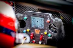 Vallelunga, Italy september 24 2017. Racing car steering wheel w Royalty Free Stock Photos