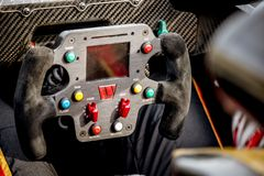 Vallelunga, Italy september 24 2017. Racing car steering wheel w Royalty Free Stock Photography