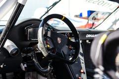 Vallelunga, Roma, Italia 24 de junio de 2017 Carlinga del conductor de Porsche Imágenes de archivo libres de regalías