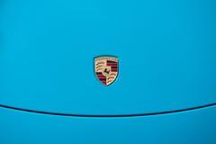 Vallelunga, Roma, Italia 10 settembre 2016 Logo di Porsche sul Ca Fotografia Stock Libera da Diritti