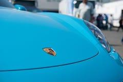 Vallelunga, Roma, Italia 10 settembre 2016 Logo di Porsche sul Ca Fotografie Stock Libere da Diritti