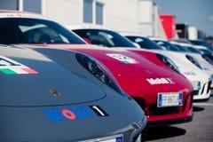 Vallelunga, Rome, Italie le 8 septembre 2018, rangée de voiture de Porsche dedans photo stock