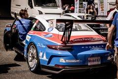 Vallelunga, Rome, Italie le 8 septembre 2018, voiture de Porsche dans le pré image stock