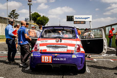 Vallelunga, Rome, Italy. June 25 2017. Trofeo Abarth Selenia, Fiat 500 cars on starting grid royalty free stock images