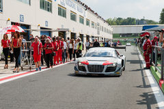Vallelunga, Rome, Italy. September 10th 2016. Audi R8 in pit lan royalty free stock photography