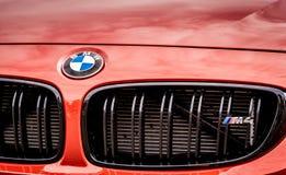 Vallelunga, Włochy Wrzesień 24 2017 BMW M4 krajoznawczy sportowy samochód fr Obraz Royalty Free