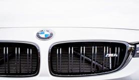 Vallelunga, Włochy Wrzesień 24 2017 BMW M4 krajoznawczy sportowy samochód fr Zdjęcie Royalty Free