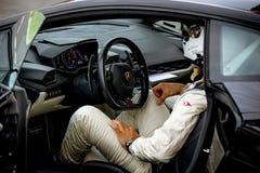 Vallelunga, Włochy Wrzesień 24 2017 Lamborghini zbawczego samochodu driv Fotografia Stock
