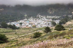 Vallemar neighborhood of Pacifica in a foggy summer day. Stock Photo
