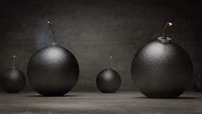 Vallend en explodeer bommen op zwarte achtergrond stock illustratie