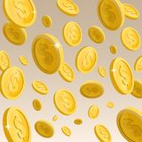 Vallend, gouden glanzende muntstukken Stock Foto