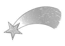 Vallend ster in gegraveerde stijl royalty-vrije illustratie