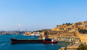 Valleta Grand Harbour. Grand harbour of Valletta with ships parked Royalty Free Stock Images