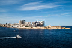 Valletta, πρωτεύουσα της Μάλτας, Ευρώπη, νέα πόλη κάτω από την κατασκευή, άποψη σε Sliema Στοκ εικόνες με δικαίωμα ελεύθερης χρήσης