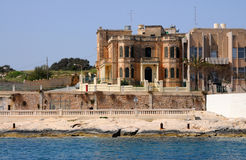 Valletta. Coastline in the harbour of Valletta. Here a part of Msida, Malta stock photography