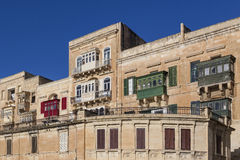 Valletta Balconies. Colourful balconies and windows in the city of Valletta in Malta Royalty Free Stock Photos