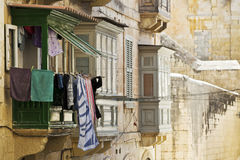 Valletta Balcony. An old balcony in one of the streets of the city of Valletta in Malta Royalty Free Stock Image