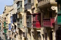 Valletta balkonger Fotografering för Bildbyråer