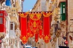 valletta Bandeiras no dia de St Augustine Foto de Stock Royalty Free