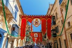 valletta Bandiere il giorno di St Augustine Immagine Stock Libera da Diritti