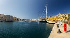 Valletta bay. Beautiful yacht on the pier in Valletta port, Malta Royalty Free Stock Images