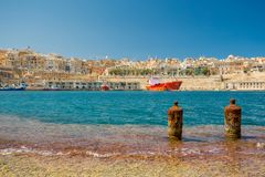 Valletta bay and waterfront view from Birgu Royalty Free Stock Photography