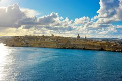 Valletta Beautiful Waterfront Skyline, Malta Landmarks, Travel Europe. La Valletta, capital of Malta has beautiful buildings and a lot of churchs, in the old Stock Photos