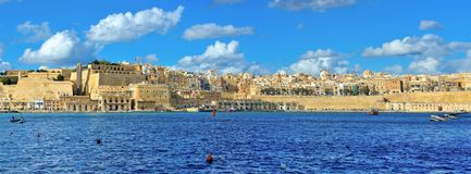 Valletta Beautiful Waterfront Skyline, Malta Landmarks, Travel Europe. La Valletta, capital of Malta has beautiful buildings and a lot of churchs, in the old Stock Image