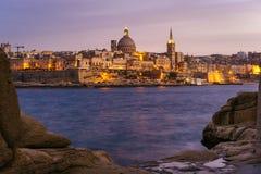 Valletta bij zonsondergang, Malta Royalty-vrije Stock Fotografie