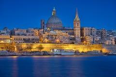 Valletta & Blauw Uur Royalty-vrije Stock Foto's