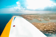 Valletta, the Capital City of Malta view from airplane clear win Stock Photography