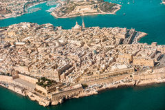 Valletta, the Capital City of Malta from view airplane harbor, c. Apitol and port Royalty Free Stock Photography