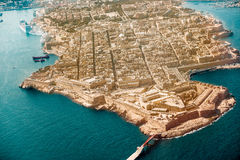 Valletta, the Capital City of Malta from view airplane harbor, capitol. And bridge Royalty Free Stock Image