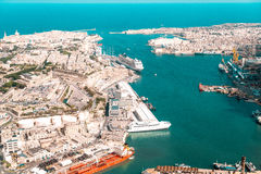 Valletta, the Capital City of Malta from view airplane harbor an. D ships and boats Stock Image
