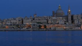 Valletta - capital of Malta -  from Evening till night - hyperlapse stock footage
