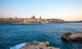 Valletta citiscape with bay rocky coast Malta Royalty Free Stock Photos