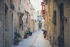 Valletta city streets with traditional architecture. Valletta city streets, Malta, Europe Royalty Free Stock Photo
