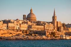 Valletta cityscape closeup at sunset, Malta Stock Photos