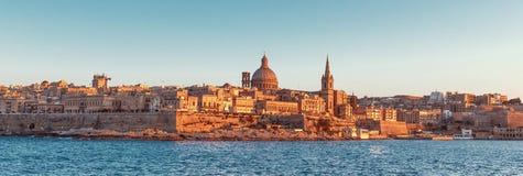 Valletta cityscape panorama at sunset, Malta Royalty Free Stock Photos