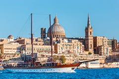 Valletta cityscape with sailboat, Malta Stock Image