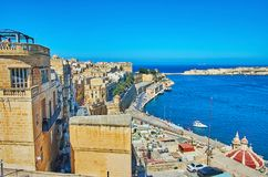 Valletta cityscape from Upper Barrakka Gardens, Malta. The edieval housing of Valletta and its Grand Harbour from the Upper Barrakka Gardens, Malta Royalty Free Stock Photo