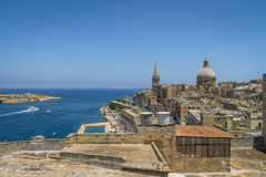 Valletta cityscape view with Basilica of Our Lady of Mount Carmel - Valletta, Malta Royalty Free Stock Photos